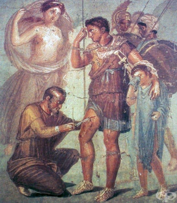 Стенопис, на който Венера наблюдава как лекарят Япикс се грижи за раната на сина й Еней, Помпей, Къщата на Сирик. I в.