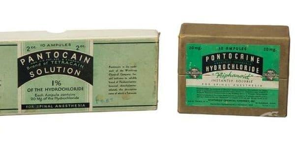 Старинна опаковка с анестетика понтокаин от началото на 20 век