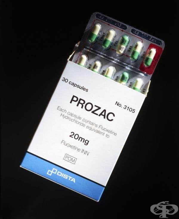 """Опаковка с лекарството """"Prozac""""  от 80-те години на 20 век"""