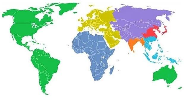 Светът, разделен на седем региона, всеки с население от един милиард