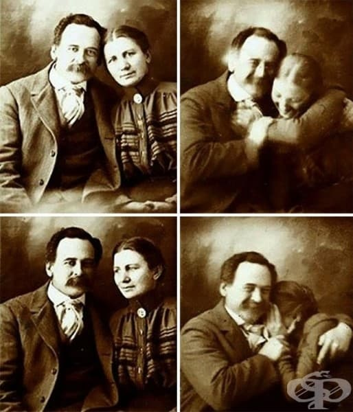 Двойка от Викторианската епоха, които се опитват да не се смеят по време на снимка, 1890 г.