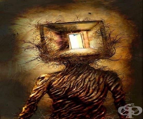 Друга рисунка от пациент с шизофрения, рисувана в психиатрична болница.
