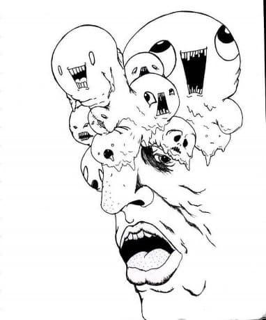 Страховита рисунка от Алън Гинсбърг, изобразяваща различни умове, които излизат от ума му.