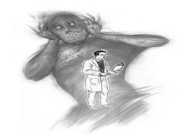 """Рисунка от пациент с шизофрения от 1920 година. Рисувана в психиатрична клиника, озаглавена """"Мотивите на манията."""""""