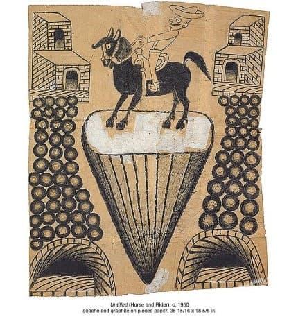 Рисунка от Мартин Рамирес, който е художник, страдащ от шизофрения през 1950 година.