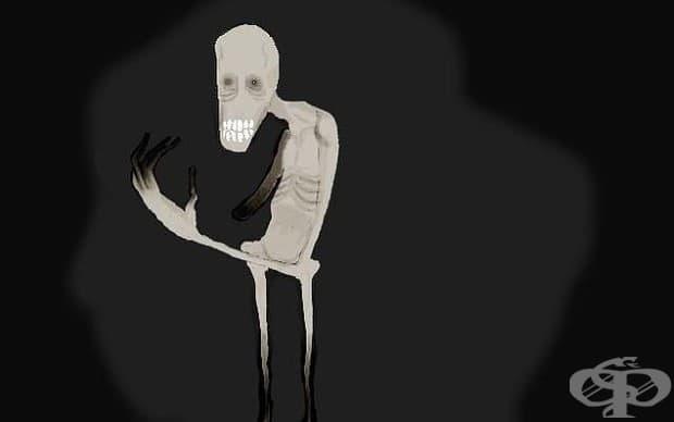 Рисунка от пациент с параноидна шизофрения, в която той описва една от своите халюцинации.