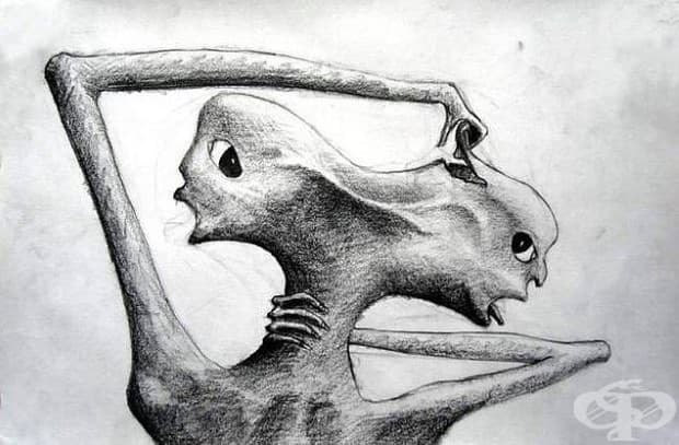 Рисунка от пациент в психиатрична клиника, който страда от параноидна шизофрения.