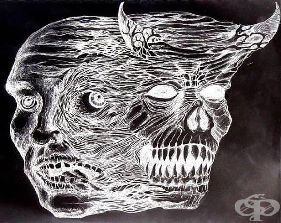 Рисунка от Ерик Бауман през 1950, който илюстрира ума си.