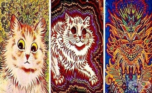 Луис Уейн показва психическата си промяна чрез тази серия от картини на котки в началото на 1900-те, малко след поставената диагноза.