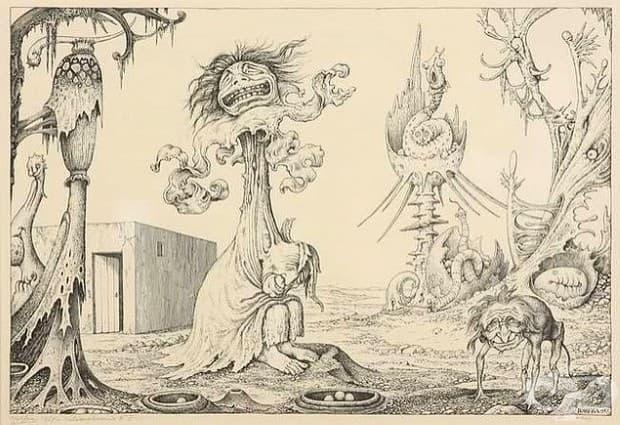Призрачна рисунка от шизофреник, на име Джофра Драак през 1965 г.