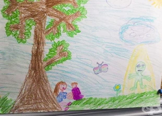 """""""Намерих тази рисунка, на която сестра ми изобразява, че сме нападнати от извънземни."""