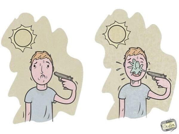 Саркастични илюстрации, които трябва да погледнете два пъти, за да разберете