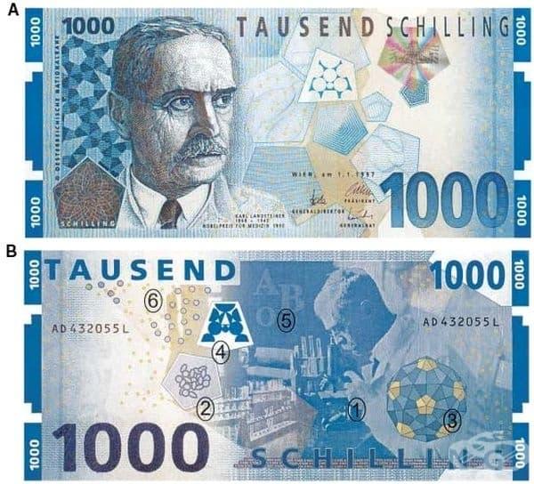 Факсимилето на тази банкнота от 1000 шилинга е предоставено от Петер Бухегер, работил в австрийската национална банка.