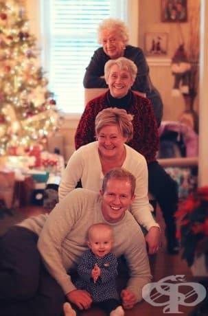 Пет поколения на една фотография – на възраст 93, 72, 50, 28, 0.5.