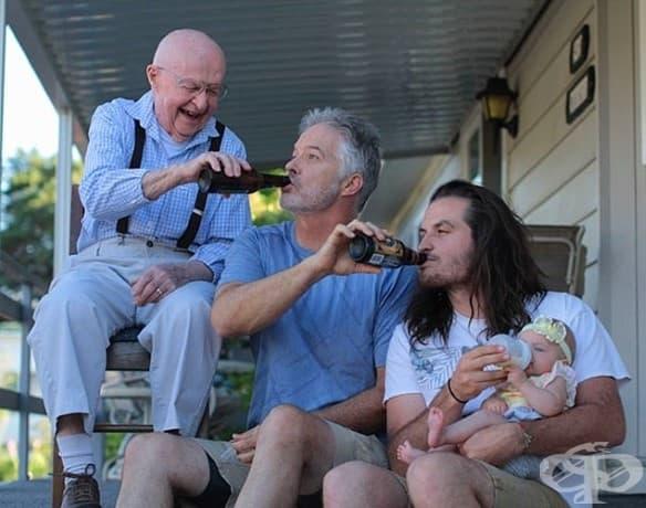 Бащи, които хранят бебетата си.