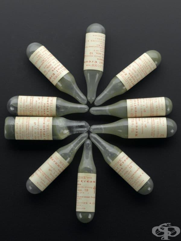 Живачен крем от 1880 година, ползван за третиране на сифилис