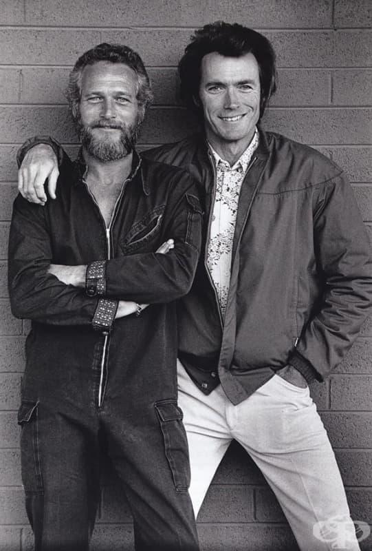 Пол Нюмън и Клинт Ийстууд се срещат случайно пред мотел в Тъксън, Аризона, 1972 г.