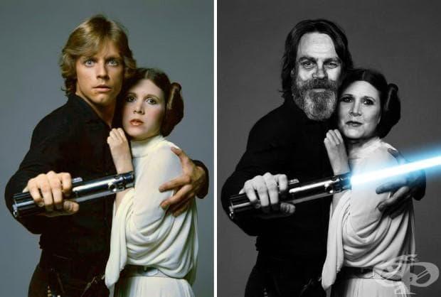 Марк Хамил и Кари Фишър (Люк Скайуокър и принцеса Лея), 1977 и 2015 г.