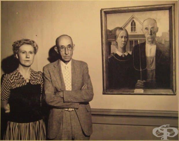"""Моделите, използвани от художника Грант Ууд за известната му картина """"Американска готика"""""""