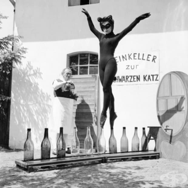 17-годишната Бианка Пасарже танцува върху винени бутилки в котешки костюм, Хамбург, 1958 г.