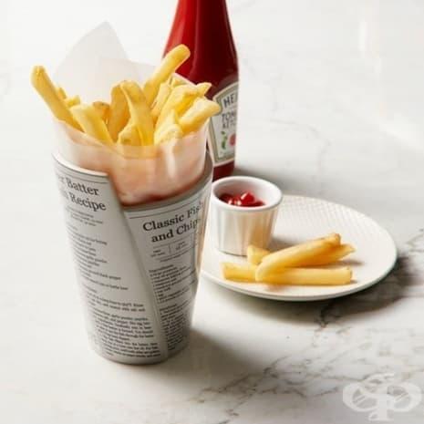 """Чашка за картофки от """"вестници"""""""