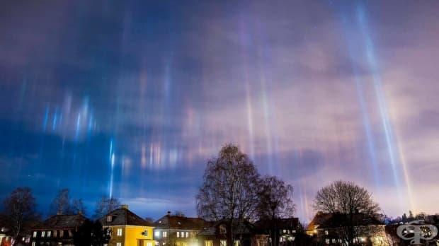 Светлинни стълбове в небето