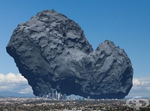 Размерът на комета, сравнена с Лос Анджелис