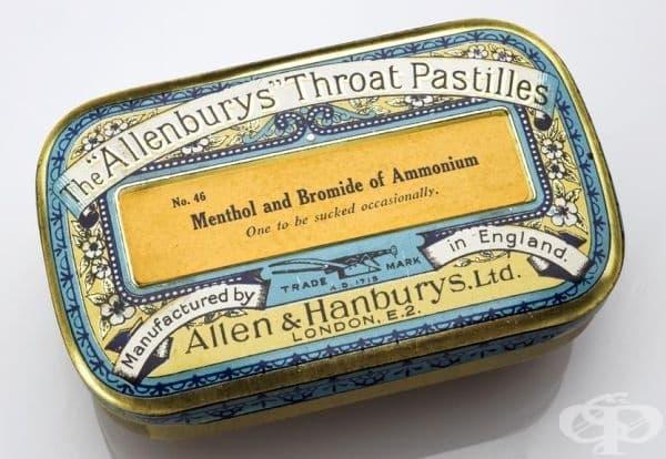 """Старинни таблетки за гърло с марка """"Allenbury"""""""