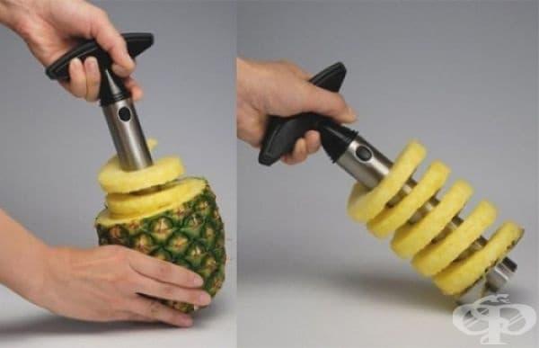 Тирбушон за рязане на ананас.