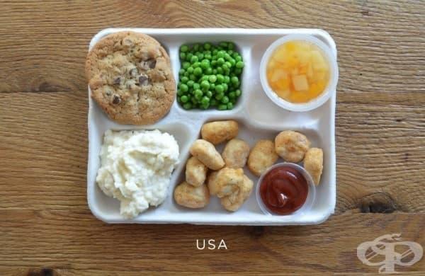 САЩ: пържено пиле, картофено пюре, грах, плодово желе, бисквити с шоколад.