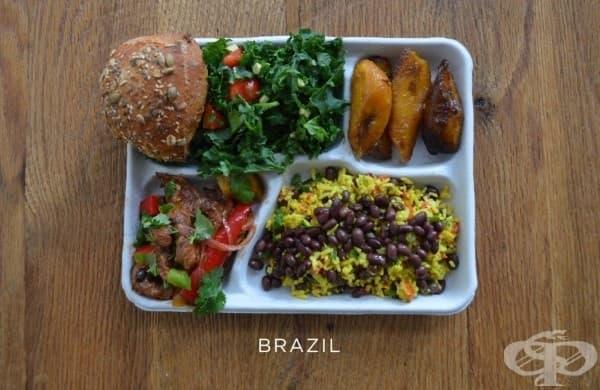 Бразилия: свинско зеленчуци, черен боб и ориз, салата, хляб, печен банан.