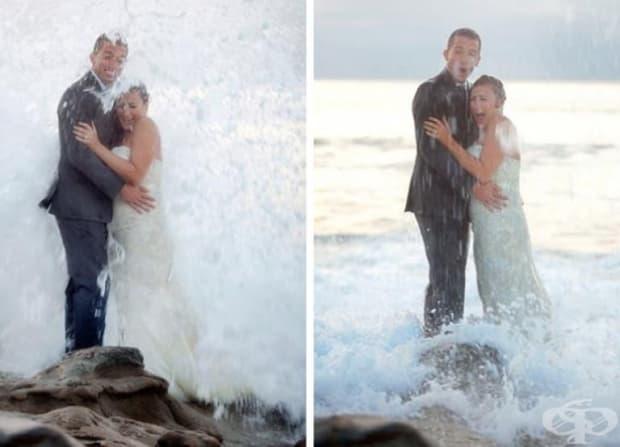 Какво може да е по-романтично от сватбена снимка в океана?