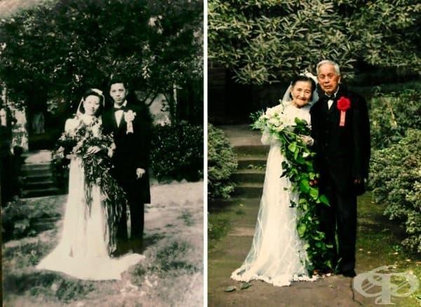 Тази двойка пресъздава сватбения си ден след цели 70 години.