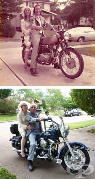 Двойка отпразнува 40 години брак, като пресъздава сватбената си снимка.