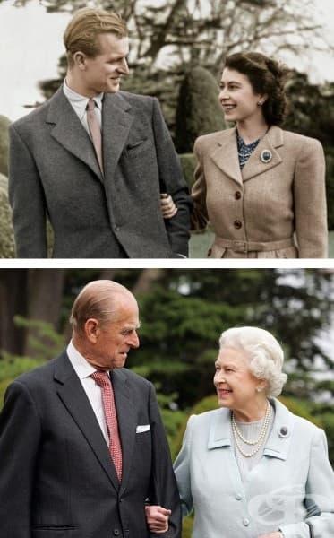 Кралица Елизабет и принц Филип през 1947 г. и 60 години по-късно.