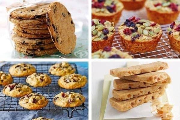 Снимка 1: Канелени бисквитки, кексчета с овесени ядки,  бисквитки с шоколадови парченца и кашу, оризови бисквити с захаросан джинджифил.