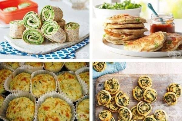 Снимка 2: Тортила питки с грах и семена, пици-палчинки, кексчета от тиквички с бекон и спаначени бутер рулца с гъби.