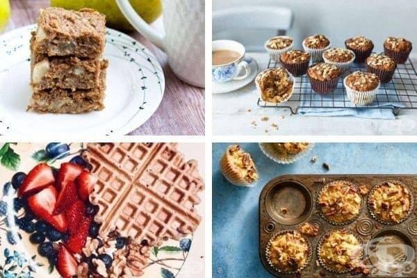 Снимки 3: Овесен кекс с круши, овесени мъфини с банан, овесени мъфини с бадемово мляко и пълнозърнести гофрети.