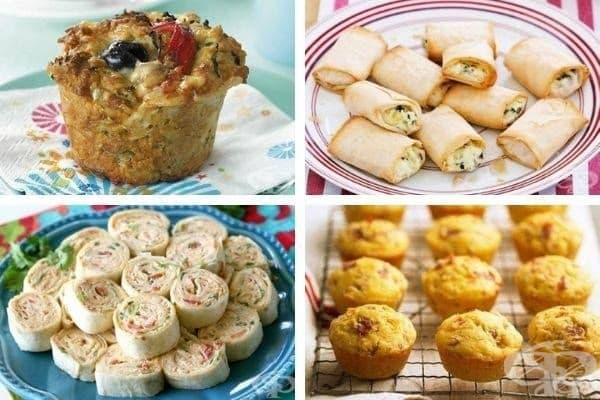 Снимка 4: Солен овесен мъфин с тиквички, банички със спанак и рикота, цветни тортила рулца и царевични кексчета с прошуто и праскови.