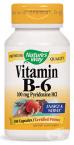 ВИТАМИН Б 6 ПИРИДОКСИН ХИДРОХЛОРИД капсули 100 мг. * 100 NATURE'S WAY
