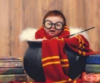 Фотосесия на 3-месечно бебе облечено като Хари Потър