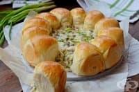 Питки с кашкавалено-гъбен сос