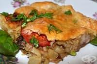 Бутер баница с месо, лук и домати