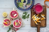 Студена супа с цвекло, репички и краставици