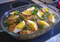 Оризова гарнитура със зелен фасул, орехи и сварени яйца