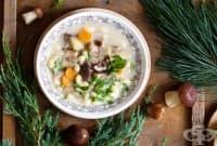 Макаронена супа с горски гъби и сметана
