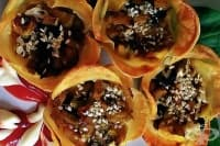Картофени цветя с пълнеж от горски гъби, тиквички и кашкавал