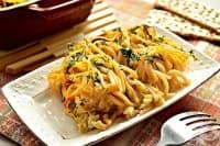 Запечени спагети със заливка от яйца и майонеза