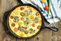 Отворен омлет със зелен лук, гъби и домати