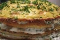 Торта от картофени палачинки със сирене и копър